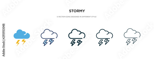 Fototapeta stormy icon in different style vector illustration