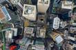 Leinwanddruck Bild -  Top view of Hong Kong city