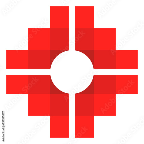 Chakana, Andean square cross, the most important symbol of Andean culture on white background Canvas Print