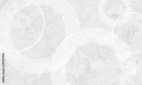 White background with white circle rings in faded distressed vintage grunge texture design, old geometric pattern paper - 293937814