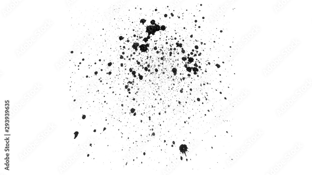 Fototapeta Abstract black watercolor drops on white background