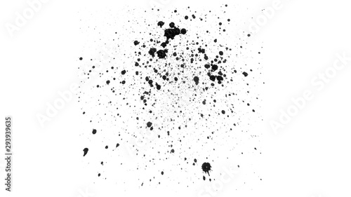 Vászonkép  Abstract black watercolor drops on white background