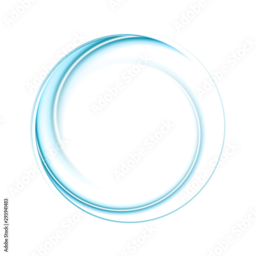 Bright blue smooth abstract circular logo technology background Wallpaper Mural