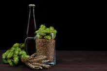 Bottle Of A Craft Beer And Mug With Malt And Fresh Green Of Hops Like A Foam On Dark Wooden Table. Black Background. Empty Space For Text