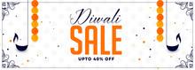 Happy Diwali Sale Banner With Diya And Marigold Flower