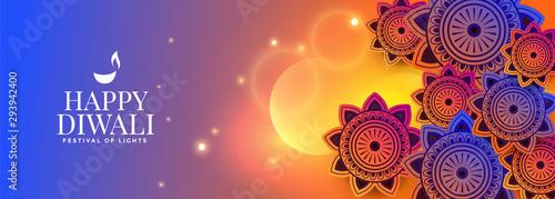 Photo  colorful decorative happy diwali glowing banner design