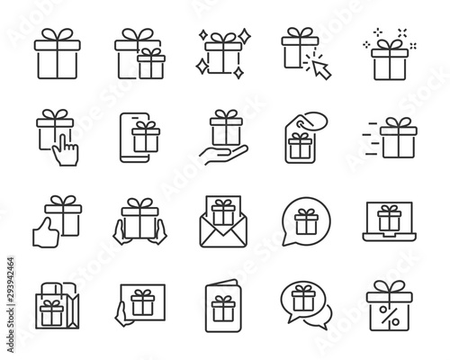 Vászonkép  set of gift icons, birthday gift, present, gift box, christmas gift