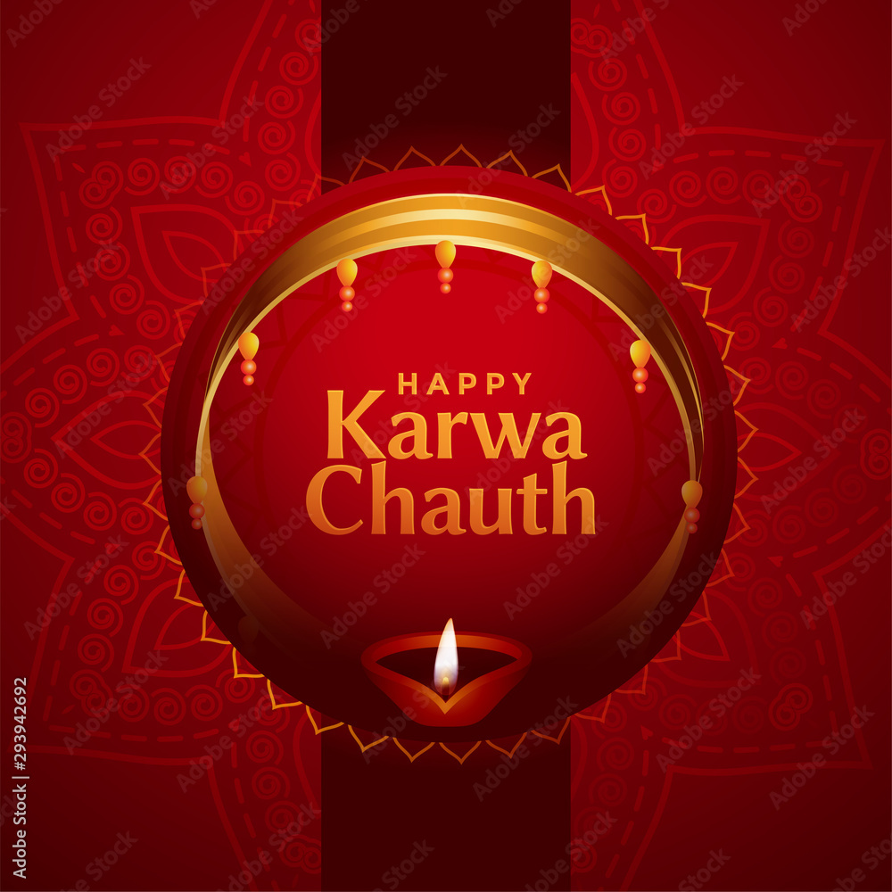 Fototapeta ethnic indian karwa chauth festival card design background