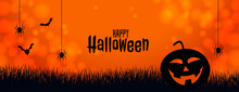 Orange Halloween Banner With Pumpkin Spider And Bats