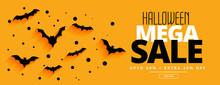 Flat Style Halloween Mega Sale Yellow Banner