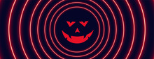 Neon Style Halloween Banner With Ghost Face