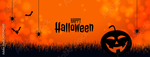 Cuadros en Lienzo  orange halloween banner with pumpkin spider and bats