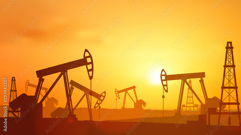 Fototapeta  Silhouette Oil pumps at oil field with sunset sky background