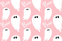 Ghost Seamless Pattern On Pink With Hand Drawn Text Boo For Children Halloween Party Paper, Holiday Celebration Invitation. Spooky Vector Pattern With Doodle And Text, Cute Poltergeist Spirit Phantom