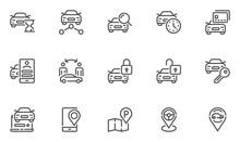 Car Sharing Vector Line Icons Set. Collaborative Consumption, Car Rental Service. Editable Stroke. 48x48 Pixel Perfect.