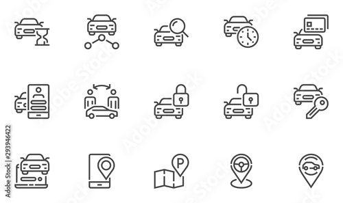 Vászonkép Car sharing vector line icons set