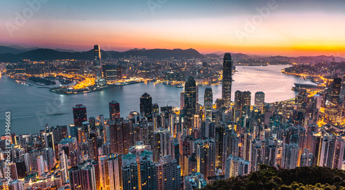 Hong Kong by sunrise Canvas Print