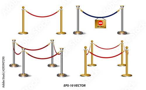 Photo set of golden barricade or stand barrier rope isolated
