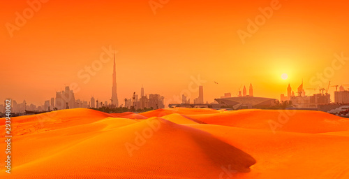 Dubai cityscape panorama with sand dunes at sunset Wallpaper Mural