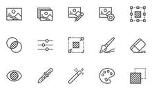 Photo Editing Vector Line Icons Set. Image Editing, Brightness, Filter. Editable Stroke. 48x48 Pixel Perfect.