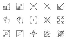 Resize Vector Line Icons Set. ...