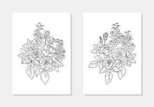 Vector  Floral Rose Delphinium...