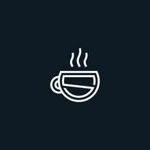 Letter S With Cup Logo Design Cafe Icon Symbol Vector