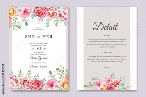 Fototapeta wedding invitation card in elegant roses template obraz na płótnie