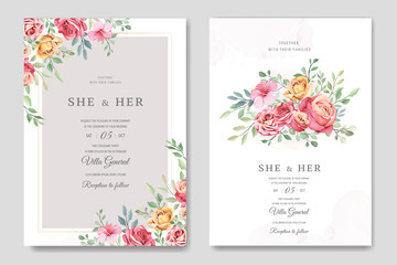 wedding invitation card in elegant roses template