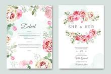 Wedding Invitation Card In Elegant Roses Template