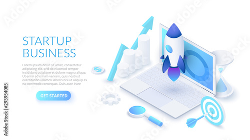 Photo  Startup business design concept with rocket, laptop and hourglass