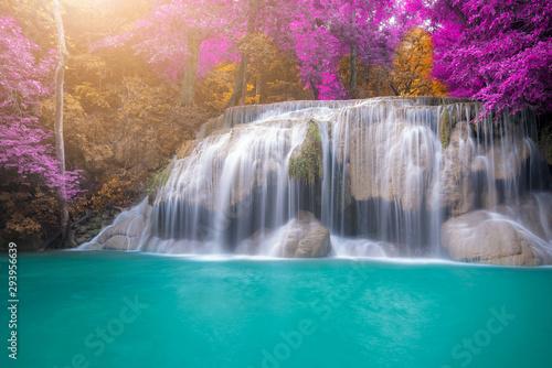 Fototapeten Wasserfalle Amazing in nature, beautiful waterfall at colorful autumn forest in fall season