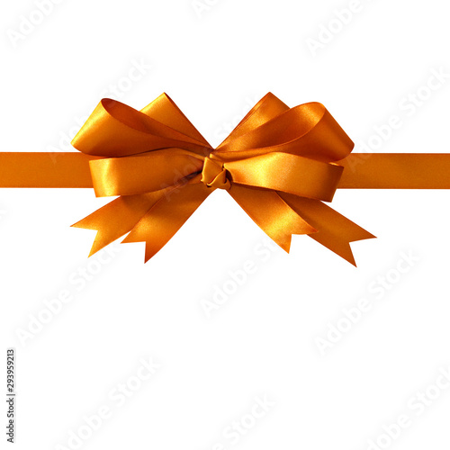 Photo sur Toile Pays d Europe Gold gift ribbon bow straight horizontal isolated on white background