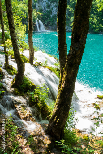 Rushing water cascades down the natural barriers into the crystal clear and azure coloured Lake Milanovac at the Plitvice Lakes National Park, Croatia Wall mural