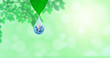 Ecology Concept : Planet earth globe in water drop with green natural in background. (Elements of this image furnished by NASA.)