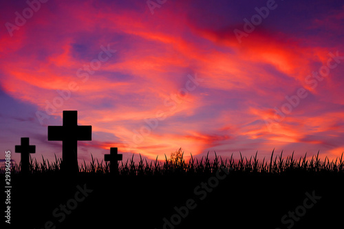 Foto auf Leinwand Koralle Silhouette wooden cross on hill with beautiful landscape in background.