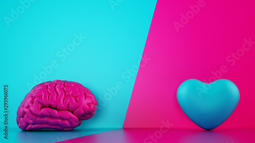 Obraz Comparison between reason and feeling. Brain and heart on a two tone background. 3D Rendering - fototapety do salonu