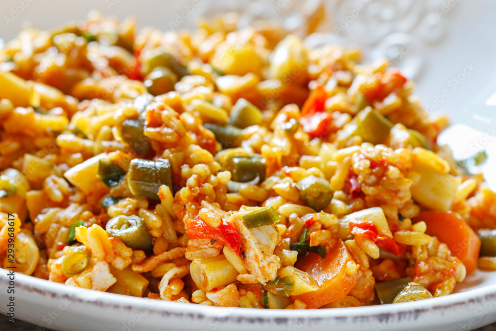 Fototapety, obrazy: Chicken curry with basmati rice and green peas