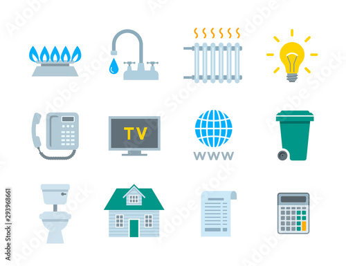 Household services utility payment bill flat icons Wall mural