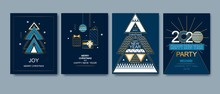 Happy New Year, Merry Christmas Card. Winter Holiday Gold And Blue Invitation. Style Design With Christmas Tree And Decoration. Greeting Card, Flyer, Poster, Party, Brochure.