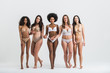 canvas print picture - Group of women with different body and ethnicity posing together to show the woman power and strength. Curvy and skinny kind of female body concept