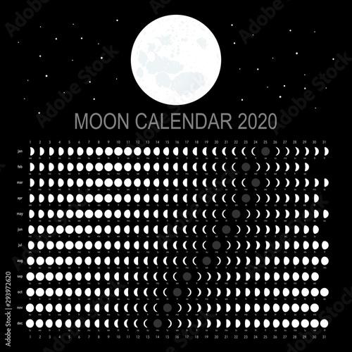 Moon calendar 2020 (English version) Wallpaper Mural