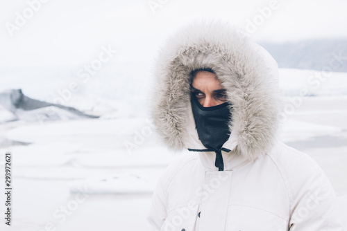 Fotografie, Obraz  Wanderlust explorer discovering icelandic natural wonders