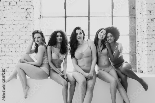 Fotografiet  Group of women with different body and ethnicity posing together to show the woman power and strength