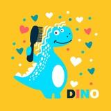 Fototapeta Dino - Cute dinosaur with hair comb