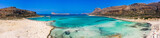 Amazing aerial panoramic view on the famous Balos beach in Balos lagoon and pirate island Gramvousa. Place of the confluence of three seas (Aegean, Adriatic, Libyan).