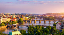 Charles Bridge, Prague, Czech Republic. Charles Bridge (Karluv Most) And Old Town Bridge Tower At Sunset. Famous Iconic Image Of Charles Bridge. Concept Of Sightseeing And Tourism. Czechia