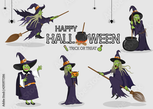 Fototapeta collection set of halloween monster costume Witch