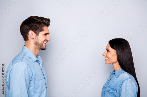Side profile photo of cheerful charming beautiful couple of two people together Canvas Print