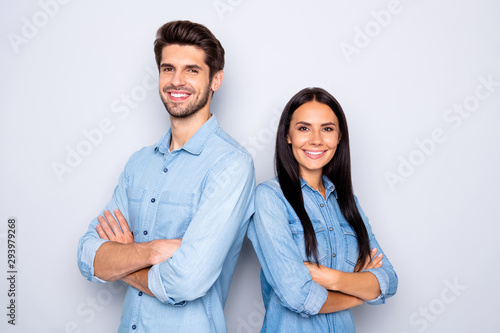 Stampa su Tela  Close-up portrait of his he her she nice attractive cheerful cheery content coup